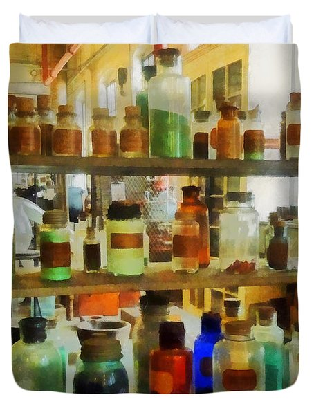 Chemistry - Bottles Of Chemicals Green And Brown Duvet Cover by Susan Savad