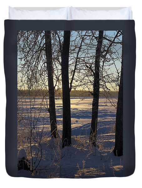 Chena River Trees Duvet Cover by Cathy Mahnke