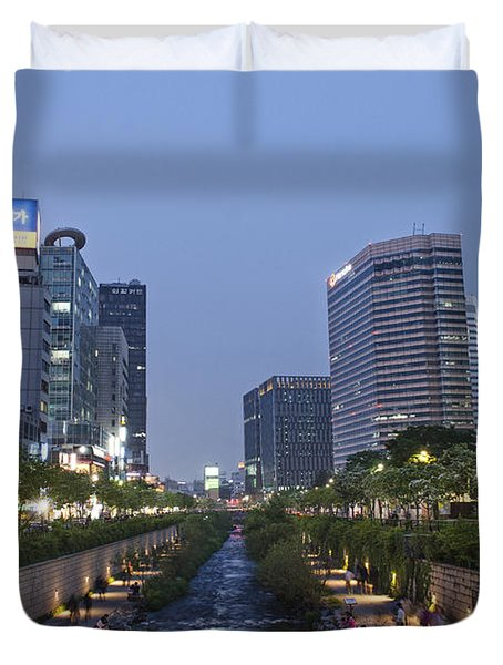 Cheonggyecheon Stream In Seoul South Korea Duvet Cover
