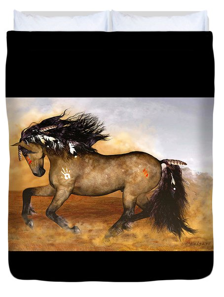 Duvet Cover featuring the painting Cherokee by Valerie Anne Kelly