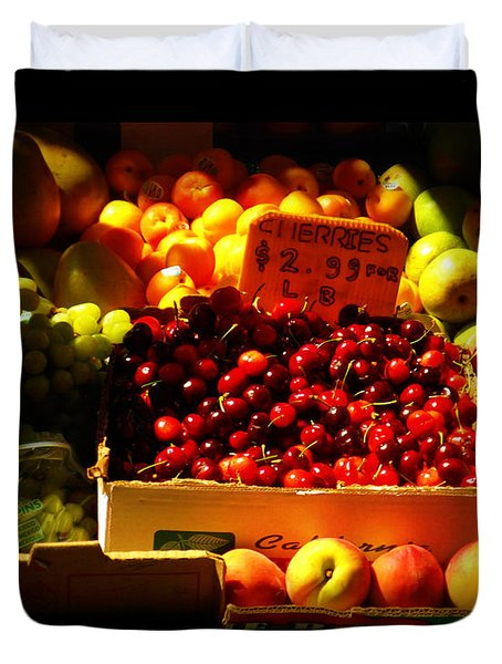 Duvet Cover featuring the photograph Cherries 299 A Pound by Miriam Danar