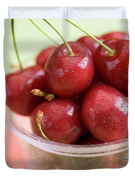 Cherries In Plastic Tub On Slice Of Watermelon Duvet Cover