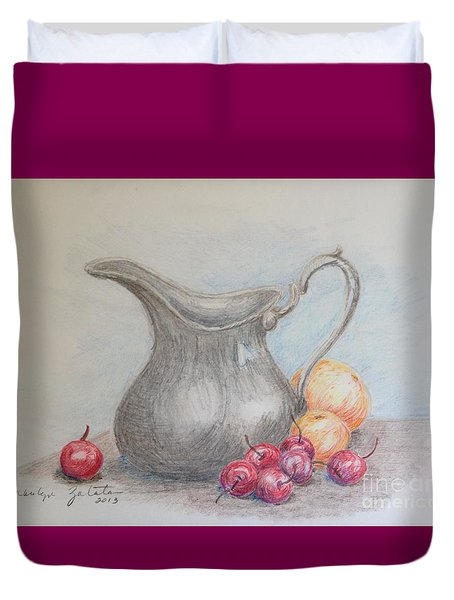 Duvet Cover featuring the drawing Cherries Still Life by Marilyn Zalatan