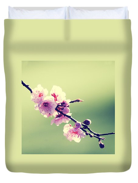 Duvet Cover featuring the photograph Cherry Blooms by Yulia Kazansky