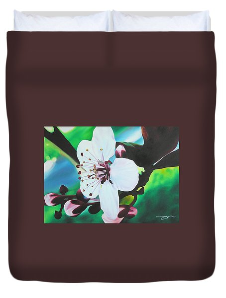 Duvet Cover featuring the painting Cherry Blosom by Joshua Morton