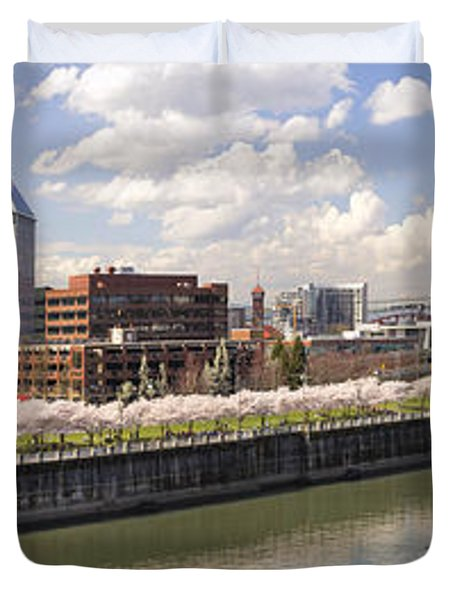 Cherry Blossom Along Portland Oregon Waterfront Panorama Duvet Cover