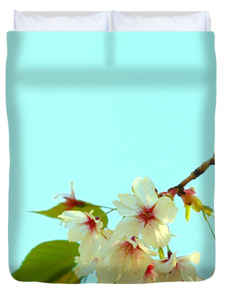 Duvet Cover featuring the photograph Cherry Blossom Flowers by Rachel Mirror