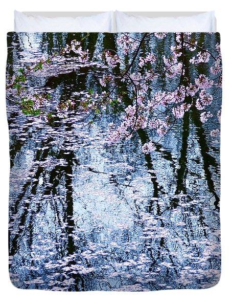 Cherry Blossom Reflections Duvet Cover