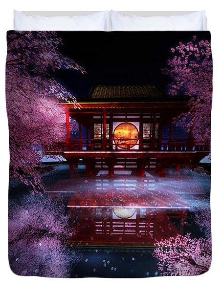 Cherry Blossom Tea House Duvet Cover