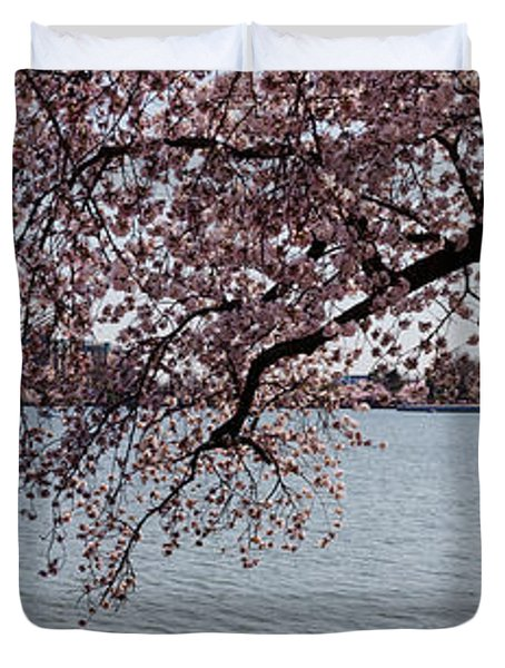 Cherry Blossom Trees With The Jefferson Duvet Cover by Panoramic Images