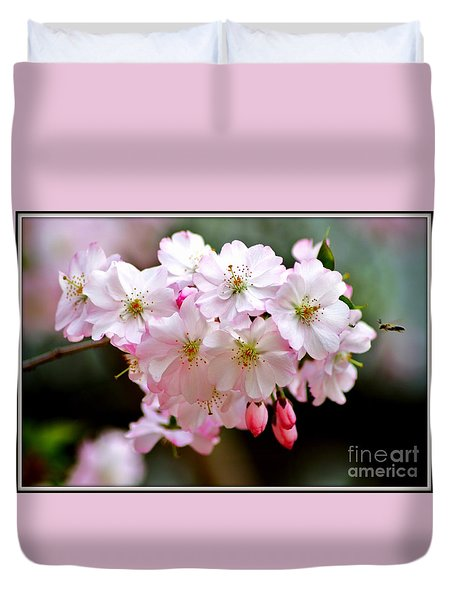 Cherry Blossoms And A Bee Duvet Cover by Patti Whitten