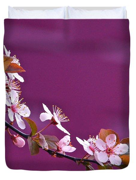 Cherry Blossoms And Plum Door Duvet Cover