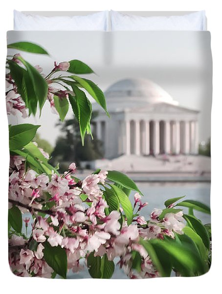 Duvet Cover featuring the photograph Cherry Blossoms And The Jefferson Memorial 2 by Mitchell R Grosky