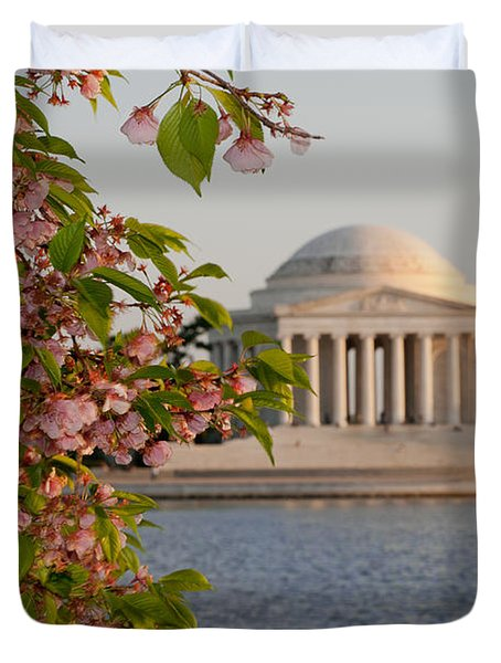 Duvet Cover featuring the photograph Cherry Blossoms And The Jefferson Memorial 3 by Mitchell R Grosky