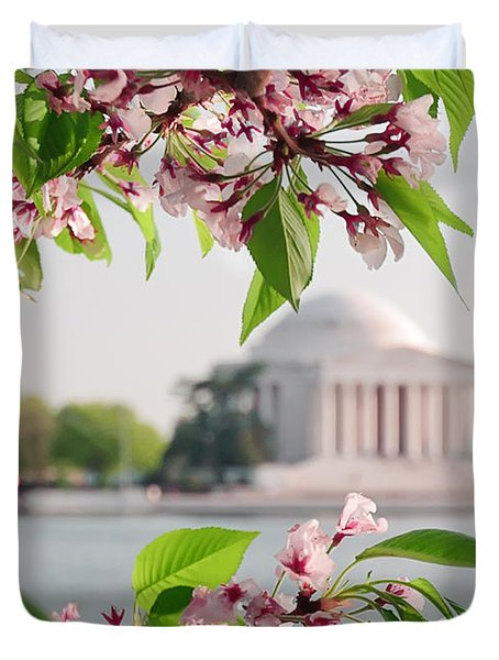 Duvet Cover featuring the photograph Cherry Blossoms And The Jefferson Memorial by Mitchell R Grosky