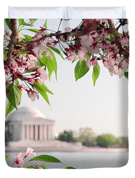 Duvet Cover featuring the photograph Cherry Blossoms And The Jefferson Memorial Panorama by Mitchell R Grosky