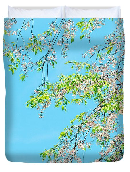 Cherry Blossoms Falling Duvet Cover by Rachel Mirror
