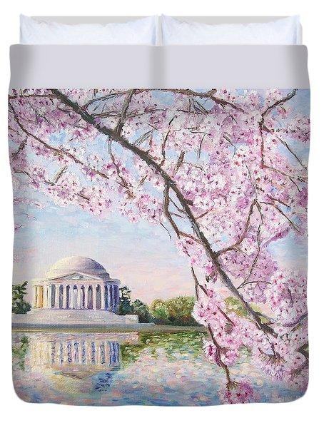 Jefferson Memorial Cherry Blossoms Duvet Cover