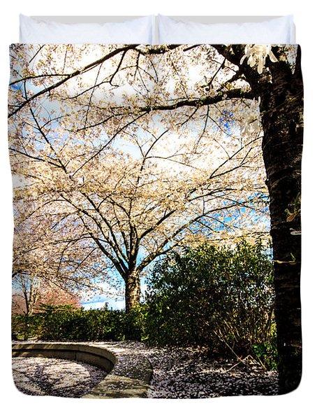 Cherry Blossoms Duvet Cover by Nancy Harrison