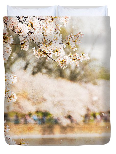 Duvet Cover featuring the photograph Cherry Blossoms In Washington Dc by Vizual Studio