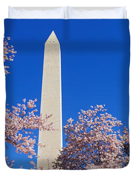 Cherry Blossoms Washington Monument Duvet Cover by Panoramic Images