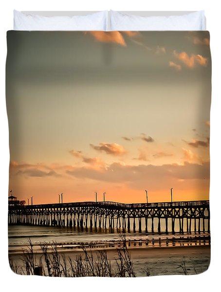Cherry Grove Pier Myrtle Beach Sc Duvet Cover