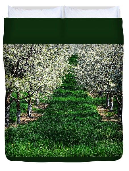 Cherry Orchard Morning Duvet Cover