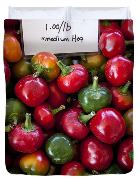 Cherry Peppers Duvet Cover by Janice Rae Pariza
