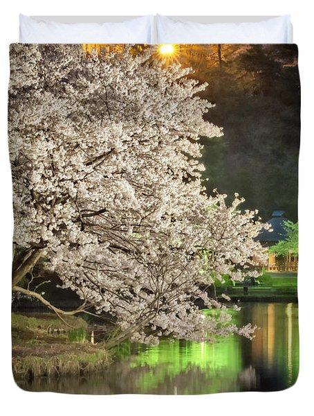 Cherry Blossom Temple Boat Duvet Cover by John Swartz
