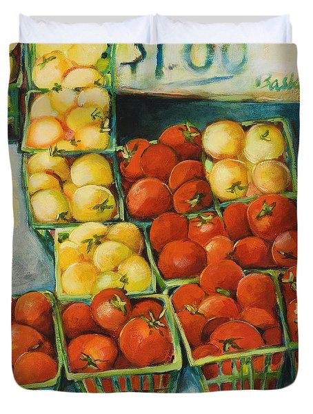 Cherry Tomatoes Duvet Cover by Jen Norton