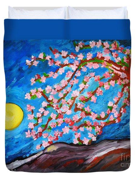 Cherry Tree In Blossom  Duvet Cover