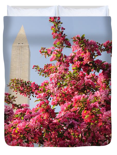 Duvet Cover featuring the photograph Cherry Trees And Washington Monument 5 by Mitchell R Grosky