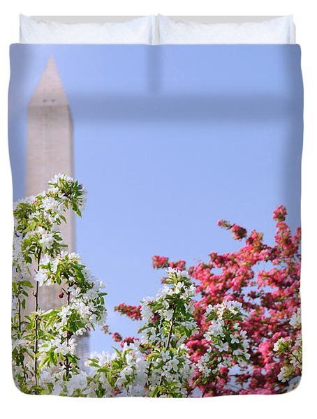 Cherry Trees And Washington Monument Four Duvet Cover