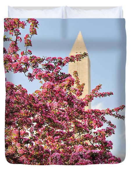 Duvet Cover featuring the photograph Cherry Trees And Washington Monument One by Mitchell R Grosky