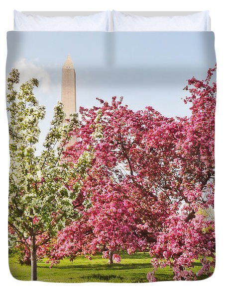 Cherry Trees And Washington Monument Three Duvet Cover