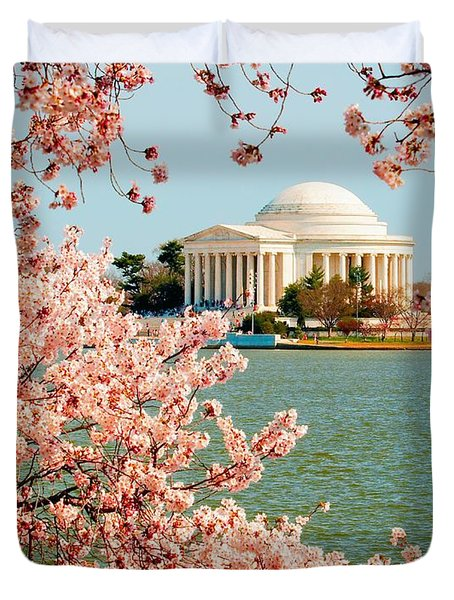 Cherry Trees At The Jefferson Duvet Cover