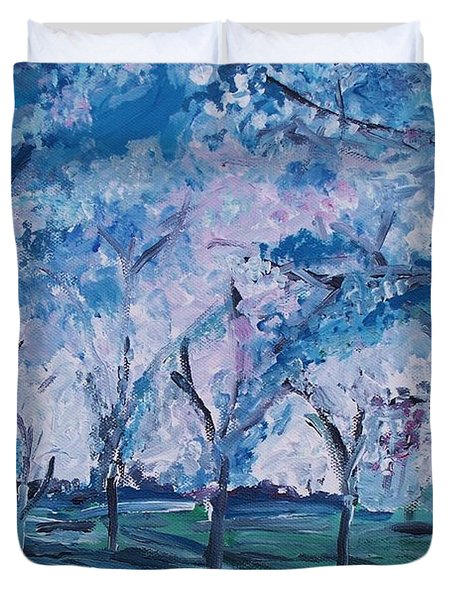Cherry Trees Impressionism Duvet Cover by Eric  Schiabor