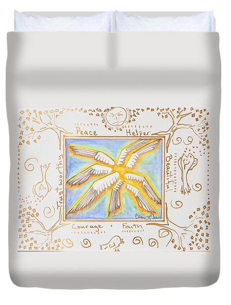 Duvet Cover featuring the painting Cherubim by Cassie Sears