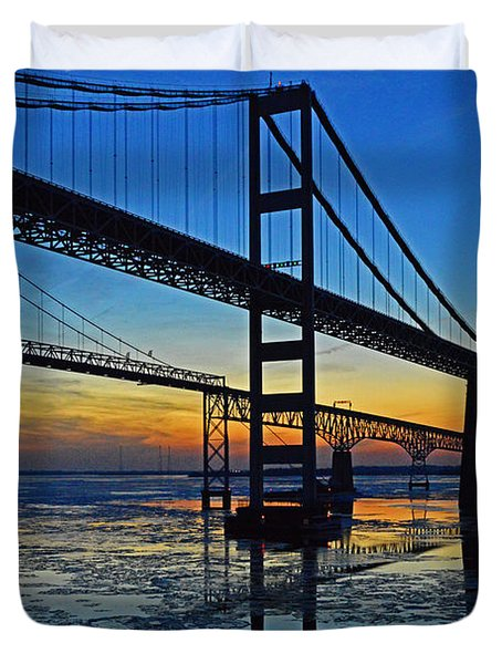 Chesapeake Bay Bridge Reflections Duvet Cover
