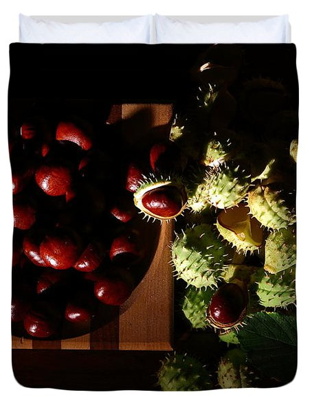Duvet Cover featuring the photograph Chestnuts by David Andersen