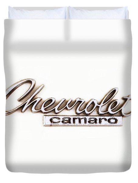 Chevrolet Camaro Emblem Duvet Cover by Jerry Fornarotto