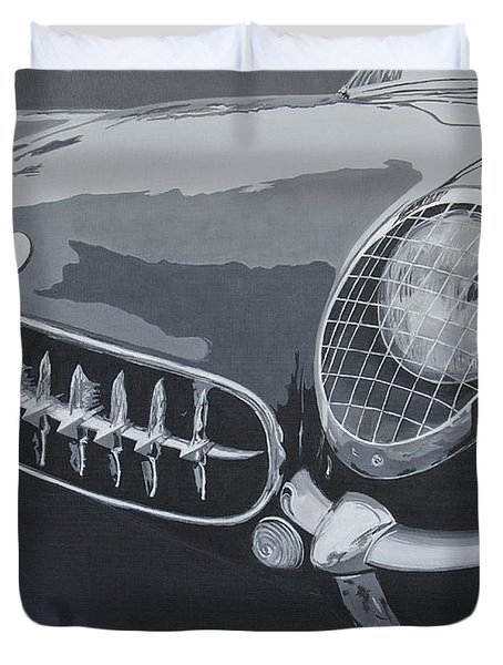 Duvet Cover featuring the painting Chevrolet Corvette 1954 by Anna Ruzsan