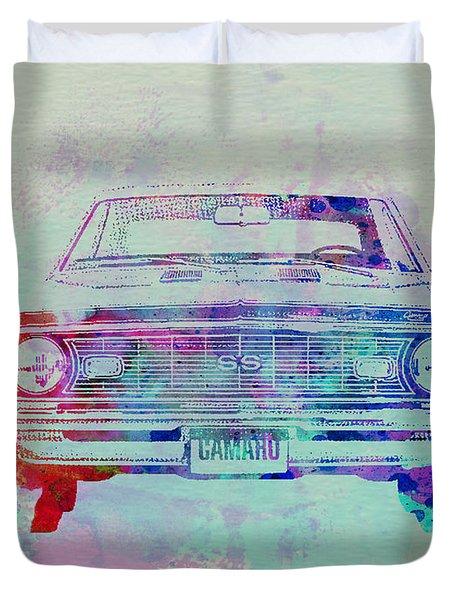 Chevy Camaro Watercolor 2 Duvet Cover by Naxart Studio