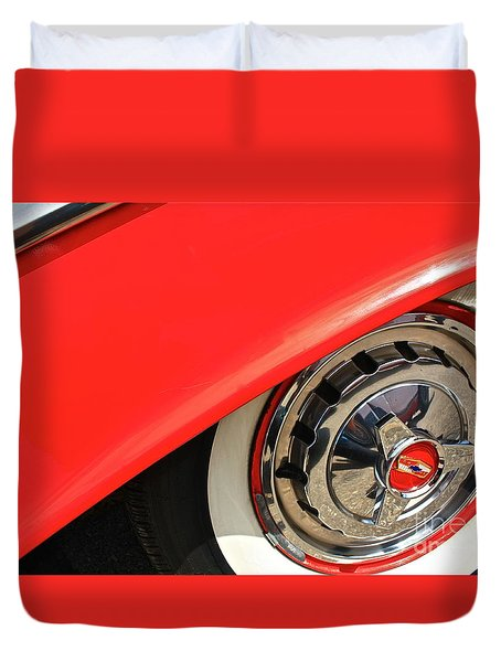 Duvet Cover featuring the photograph 1955 Chevy Rim by Linda Bianic