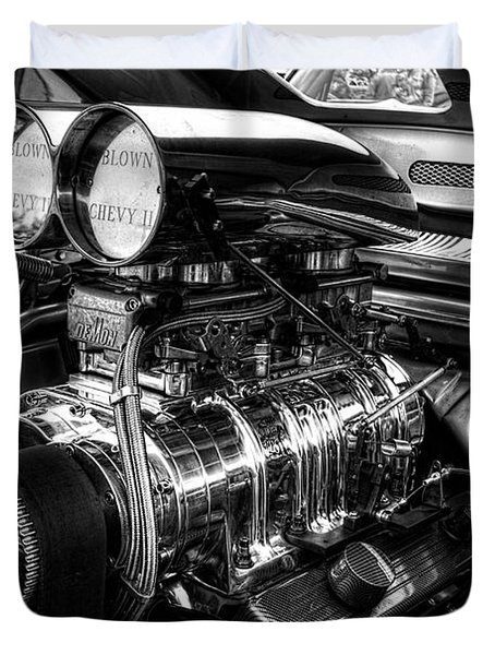 Chevy Supercharger Motor Black And White Duvet Cover
