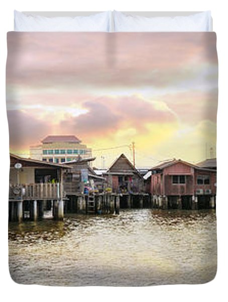 Chew Jetty Heritage Site In Penang Duvet Cover