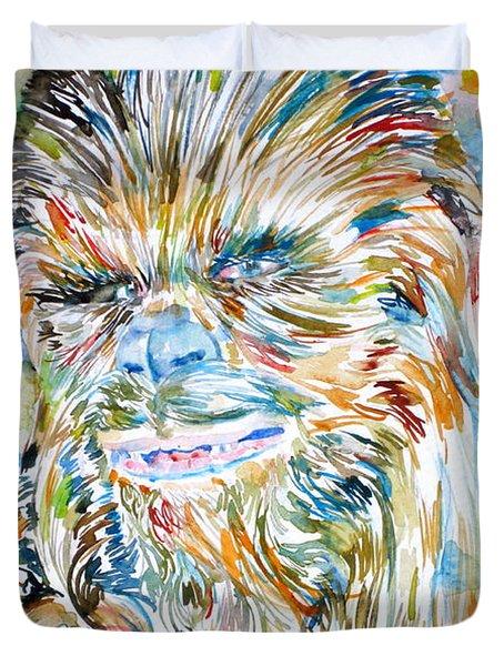Chewbacca Watercolor Portrait Duvet Cover