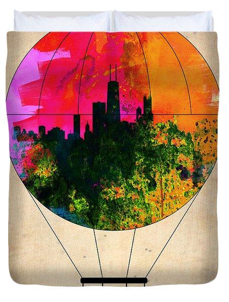 Chicago Air Balloon Duvet Cover by Naxart Studio