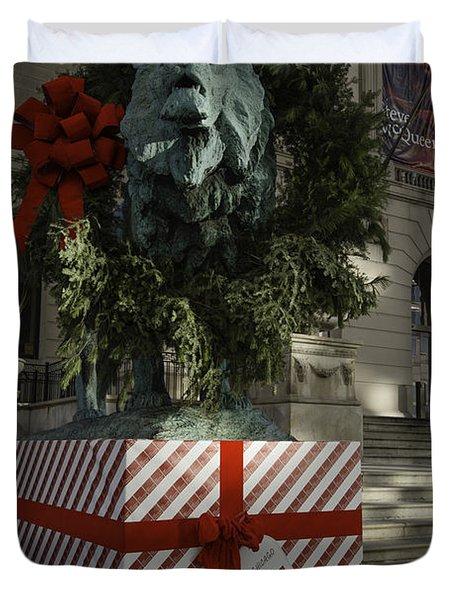 Chicago Art Institute Lion Duvet Cover by Sebastian Musial