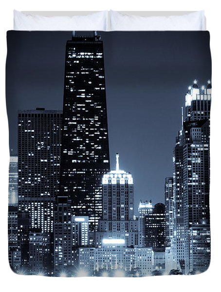 Chicago At Night With Hancock Building Duvet Cover by Paul Velgos